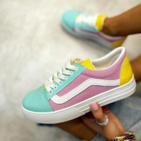 SHALLOW LACE UP SNEAKERS - ROSE/BLUE/YELLOW