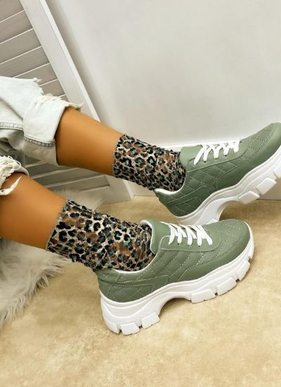 SAW SNEAKERS WITH HIGH SOLE - GREEN