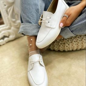 OXFORD LACE UP SHOES - WHITE