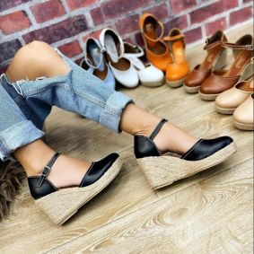 WEDGE SANDALS WITH JUTA - BLACK