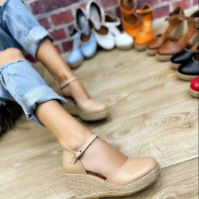 WEDGE SANDALS WITH JUTA - BEIGE