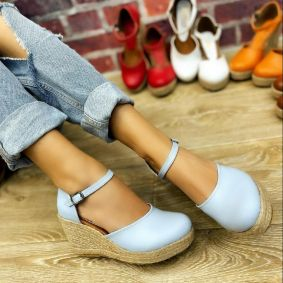 WEDGE SANDALS WITH JUTA - BLUE