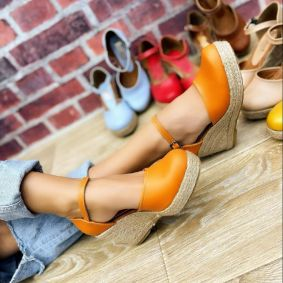 WEDGE SANDALS WITH JUTA - ORANGE