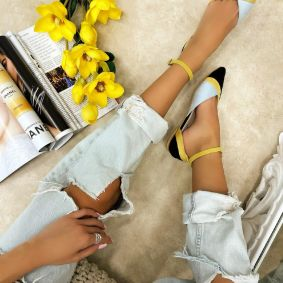 VELOUR OPEN FLATS WITH BELTS - BLACK/YELLOW