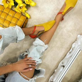 VELOUR OPEN FLATS - YELLOW