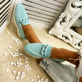 FLAT SHOES WITH CHAIN - BLUE