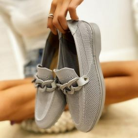 FLAT SHOES WITH CHAIN - GRAY