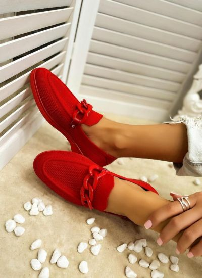 FLAT SHOES WITH CHAIN - RED