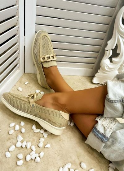 FLAT SHOES WITH CHAIN - BEIGE