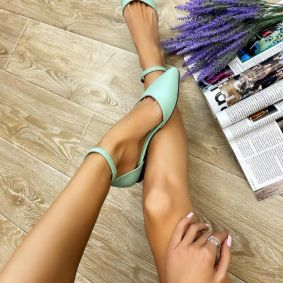 OPEN FLATS WITH BELT - MINT