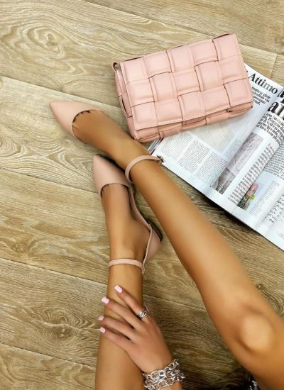 OPEN FLATS WITH BELT - ROSE