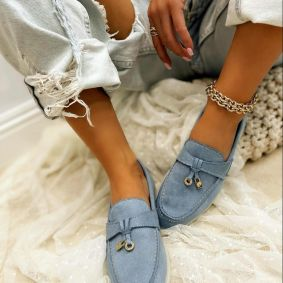 VELOUR MOCCASINS  - BLUE