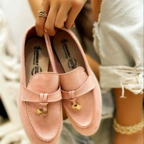 VELOUR MOCCASINS  - ROSE