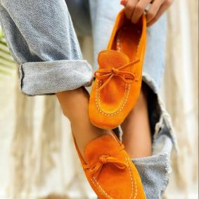 Leather ballet flats MISS - ORANGE