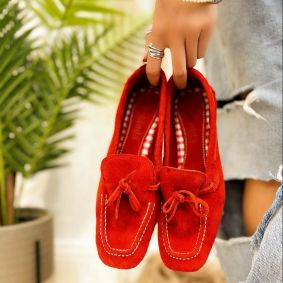Leather ballet flats MISS - RED