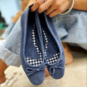 Leather ballet flats BIMBI - BLUE