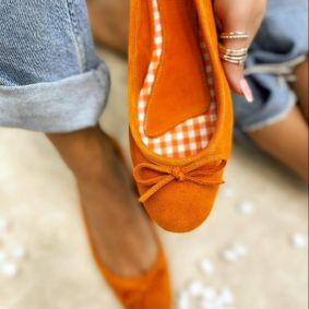 Leather ballet flats BIMBI - ORANGE