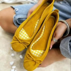 Leather ballet flats BIMBI - YELLOW