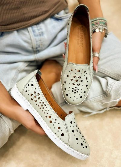 Flat leather shoes FLARE - MINT