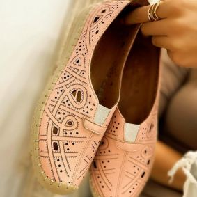 Flat leather shoes GEA - ROSE