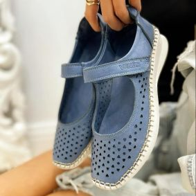 Flat leather shoes SOFTIE - BLUE