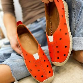 Leather espadrilles DOTTY - ORANGE