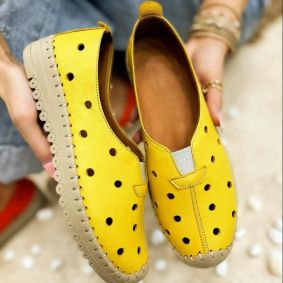 Flat leather shoes DOTTY - YELLOW