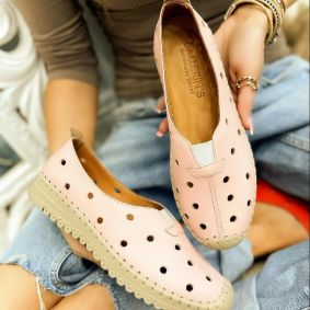 Flat leather shoes DOTTY - POWDER ROSE