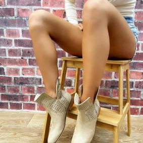 HOLLOW ANKLE BOOTS - BEIGE