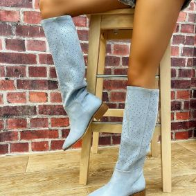 VELOUR HOLLOW PULL ON BOOTS - BLUE