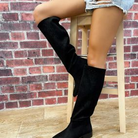 VELOUR HOLLOW PULL ON BOOTS - BLACK