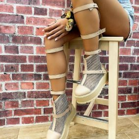 HOLLOW ANKLE BOOTS WITH BELTS - BEIGE