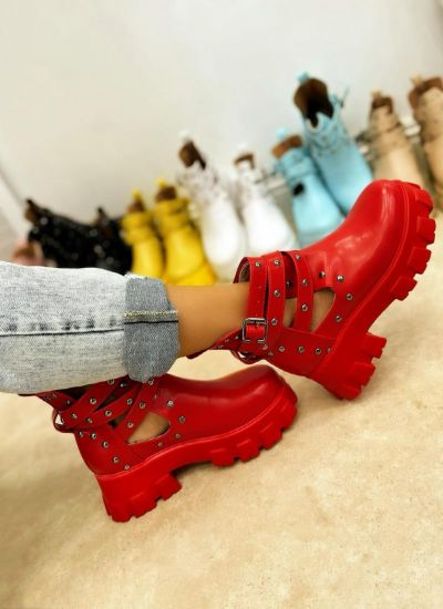ANKLE BOOTS WITH BELTS AND RIVETS - RED