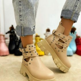 ANKLE BOOTS WITH BELTS AND RIVETS - BEIGE