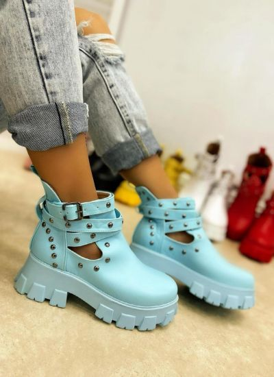ANKLE BOOTS WITH BELTS AND RIVETS - BLUE