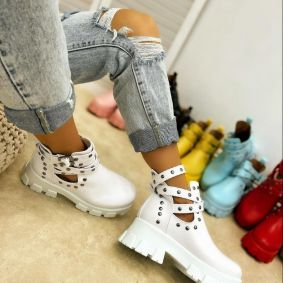 ANKLE BOOTS WITH BELTS AND RIVETS - WHITE