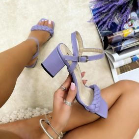 KNITTED SANDALS ON THICK HEEL - PURPLE