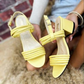 SANDALS WITH BELT AND THICK HEEL - YELLOW