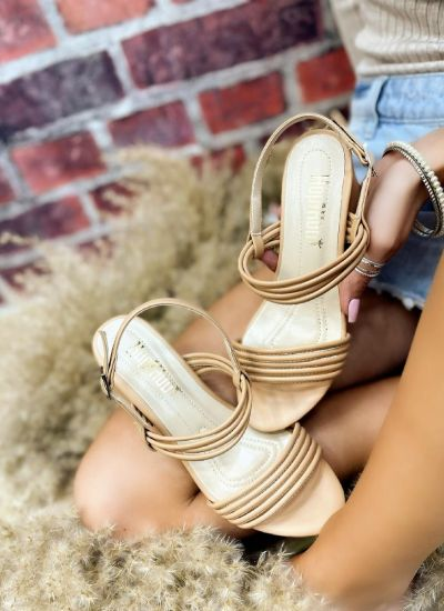 SANDALS WITH BELT AND THICK HEEL - BEIGE