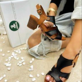 Leather sandals ESTELLE - BLACK