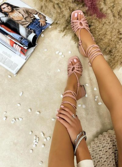 LACE UP SANDALS WITH BLOCK HEEL - ROSE