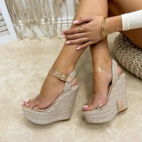 WEDGE SANDALS WITH TRANSPARENT BELTS - BEIGE