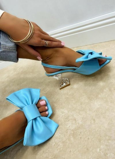 SANDALS WITH BOW AND CLEAR HEEL - BLUE