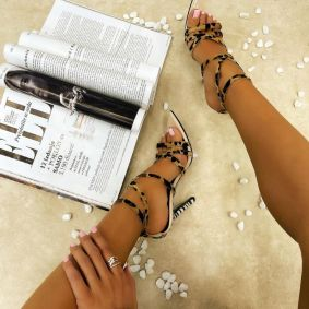 POINTED LEOPARD AND ZEBRA PRINT SANDALS WITH THIN HEEL