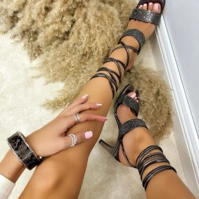 LACE UP SANDALS WITH ZIRCONS - GRAPHITE