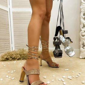 LACE UP SANDALS WITH ZIRCONS - GOLD
