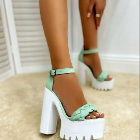KNITTED PLATFORM SANDALS WITH THICK HEEL - MINT