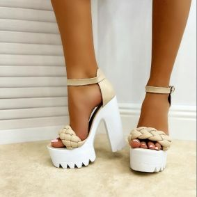 KNITTED PLATFORM SANDALS WITH THICK HEEL - BEIGE