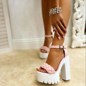 KNITTED PLATFORM SANDALS WITH THICK HEEL - ROSE