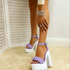 KNITTED PLATFORM SANDALS WITH THICK HEEL - PURPLE
